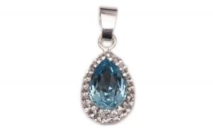 Pandantiv Pear Ceralun Aquamarine, Albastru/ Cristal, Argint 925