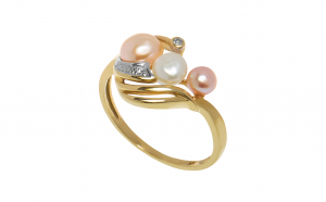 Inel aur 14K, perle si diamante
