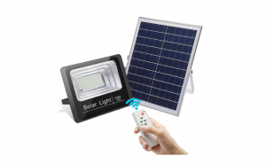 Proiector solar cu panou solar si telecomanda, Lampa solara cu Leduri, Aexya, Putere 100W