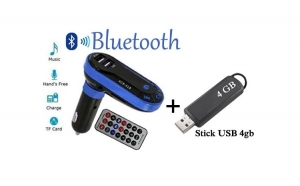 Modulator auto Bluetooth - Wireless - HandsFree - dual USB + Stick USB 4gb - numai 59 RON redus de la 139 RON