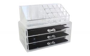Organizator transparent cu 3 sertare pentru cosmetice, universal