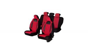 Huse scaune auto SEAT CORDOBA 2000-2009  dAL Racing Negru/Rosu,Piele ecologica + Textil