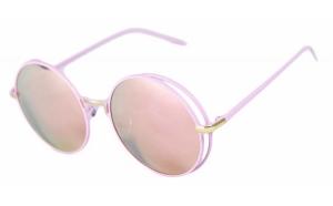 Ochelari de soare Rotunzi Retro John Lennon Roz Oglinda II