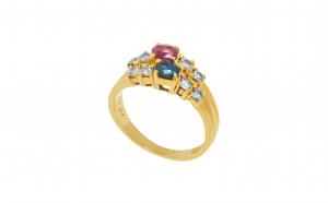 Inel din aur 18K cu safire si diamante