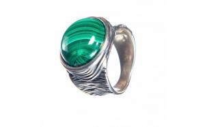 Inel din argint cu malahit, IAG281