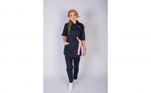 Sarafan medical stil Kimono, negru