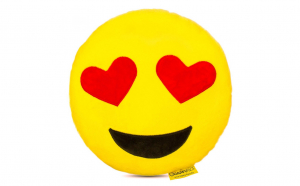 Perna decorativa stil emoji indragostit, Happy Face, galben , XXL 50 cm
