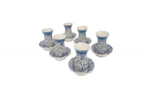 Set ceai turcesc, pictat manual- 12 piese, 900 ml, albastru