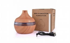 Mini difuzor aromaterapie cu ultrasunete si umidificator cu led, 130 ml, rotund, stejar inchis