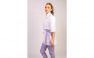 Sarafan medical stil Kimono, Modern, alb-mov