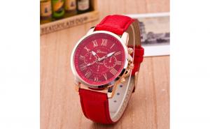 Ceas dama Geneva rosu, cu un cadran amplu + Cutie ceas cadou