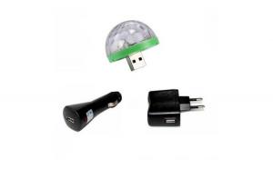 Mini bec disco cu lumina multicolora ce imita ritmul muzicii, conectabil prin USB, cu adaptor inclus