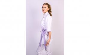 Sarafan medical stil Kimono alb mov
