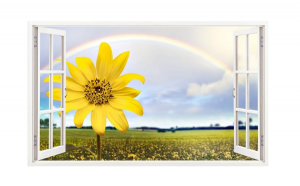 Sticker decorativ, Fereastra 3D, Floarea soarelui, 85 cm, 337STK