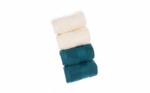 Set 4 prosoape de baie, bumbac organic 100%, 30 x 50 cm, Albastru Petrol/Crem