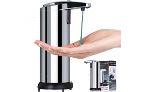 Dozator de sapun din inox, cu senzor + Dozator pasta de dinti + suport 5 periute