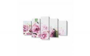 Tablou MultiCanvas 5 piese, Trandafiri Roz, 100 x 50 cm, 100% Bumbac