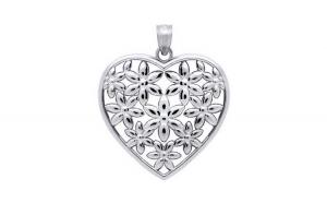 Pandant argint 925 rodiat inimioara cu floricele   Be Nature