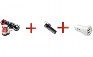 Suport auto pentru pahar + Casca Bluetooth cu atasament + Incarcator Auto Dublu USB