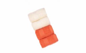 Set 4 prosoape de baie, bumbac organic 100%, 30x50 cm, Coral/Crem