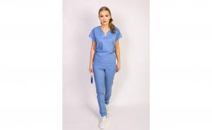 Costum medical dama, bluza anchior, bleu