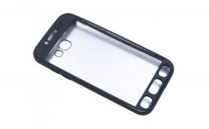 Husa Samsung Galaxy S7 Edge Flippy Full Silicone 360 Negru + Folie de protectie