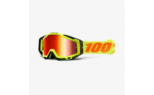 Ochelari Off road  moto 100% RACECRAFT Attack culoare portocaliu galben  2 straturi  viziera  rosu