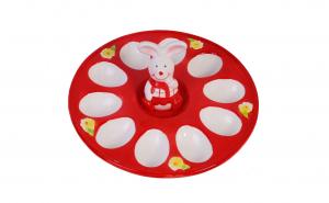 Suport de ceramica pentru 10 oua, model iepuras de Paste, 23 cm