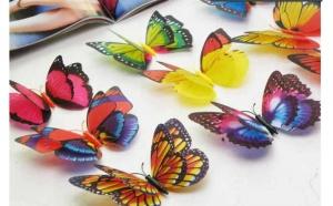 100 fluturi decorativi 3D cu magnet, 1 Iunie