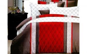 Lenjerie de pat două fețe pentru 2 persoane, cu 4 piese din bumbac satinat (model p2f-41)