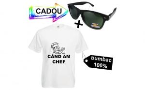 """Tricou funny """" CHEF CAND AM CHEF"""" + ochelari de soare polarizati CADOU"""
