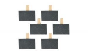 Suport mesaje cu carlige, set de 6, piatra/ lemn, decoratiune pentru agatarea mesajelor, 6 x clips mesaje, Cosy&Trendy