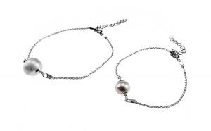Set 2 bratari mama-fiica argint cu perle