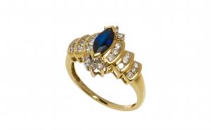 Inel din aur 14K cu safir marchiza