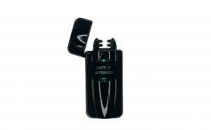 Bricheta electrica cu incarcare USB, cablu inclus, anti-vant, culoare neagra