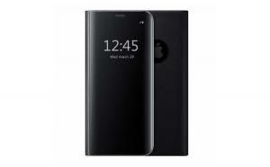 Husa compatibila iPhone 7 / 8 Book Clear View Standing Cover (Oglinda) Neagra Black