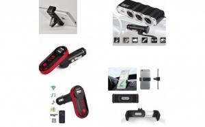 Pachet AUTO: Modulator FM cu Bluetooth mp3 player, cu incarcator pentru diverse dispozitive incorporat + Priza bricheta tripla cu USB + Suport auto telefon