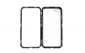 Husa Iphone 6 Plus, Full Cover 360, cu Prindere Magnetica, Rama din Metal si Spate din Plastic Cal. I, Negru