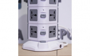 Prelungitor vertical cu cablu retractabil, 11 prize multiple + 2 x USB
