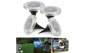 Set 4 lampi solare Metal Disk Lights, argintiu, fara fir, pentru exterior