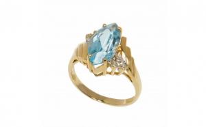 Inel din aur 14K cu topaz si diamant