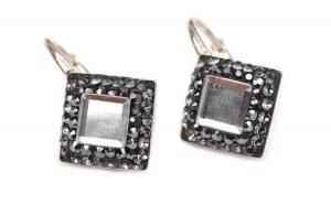 Cercei Base Ceralun Black Diamond, Gri, Argint 925, 10mm