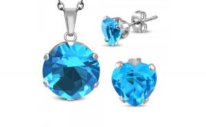 Set inox cu cercei cu inimi bleu si pandant rotund