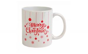 Cana ceramica, Nit4u, Merry Christmas, alb cu rosu , cutie inclusa, 450 ml