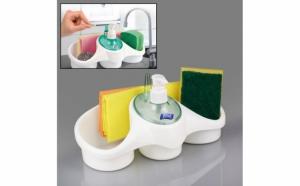 Dozator de sapun sau detergent pentru vase, cu spatiu de stocare burete, lavete si loc pentru inele