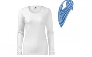 Bluza alba dama, bumbac 100% si esarfa