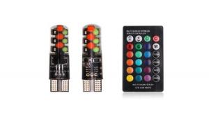 Set 2 Becuri LED T10 Auto Pozitie 6 SMD, Multicolor RGB cu Telecomanda