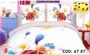 Lenjerii de pat 5D, pentru 2 persoane, 4 piese, din bumbac si microfibre, diverse modele, 99 RON in loc de 199 RON!