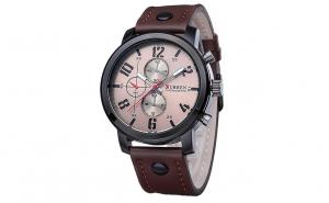Ceas barbatesc Curren 8192 - JW845-5, curea maro din piele ecologica si cadran cafeniu