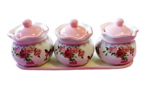 Set din ceramica format din trei recipiente , roz, 701D